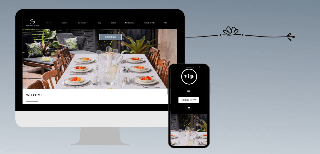 VIP Private Chef website on desktop and mobile